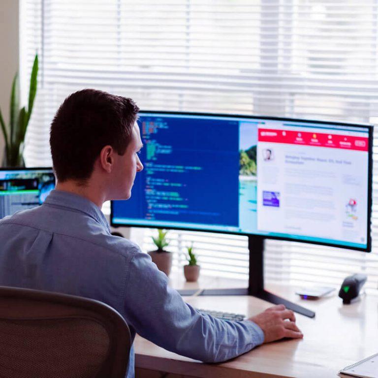 Web Designer working at desktop