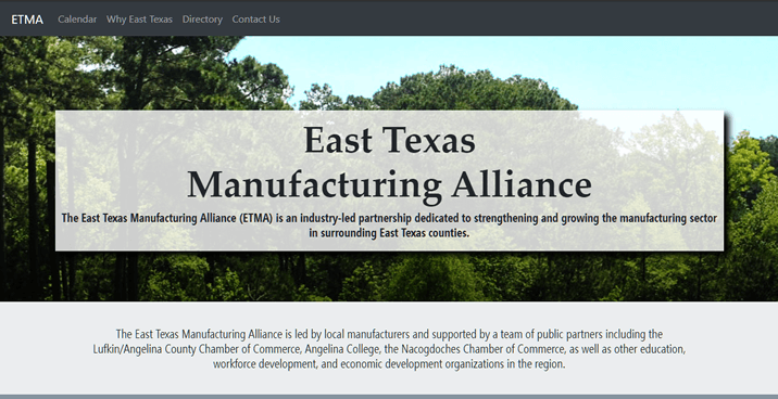 Homepage of EastTexasManufacturingAlliance.org by NacSpace