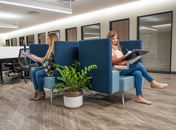 Soft seating in NacSpace coworking offices in Nacogdoches tx